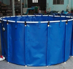 China 2M*1M 5000L Tarpaulin Fish Tank / Folding Round Fish Pond For Aquaculture supplier