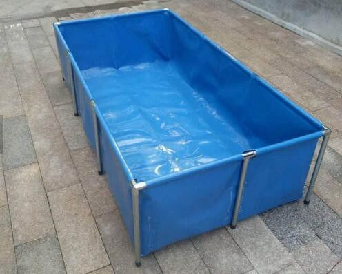 China Fireproof 4000L Tarpaulin Fish Tank With Blue Fish Pond Liner Environmental PVC supplier