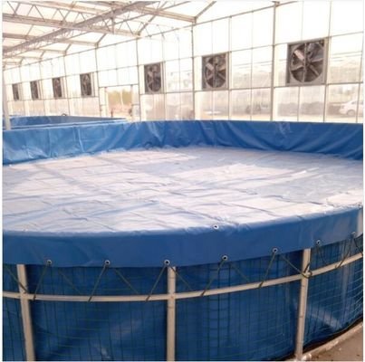 China Foldable Steel Mesh Tarpaulin Fish Tank For Fish Feeding , 10000 L Volume supplier