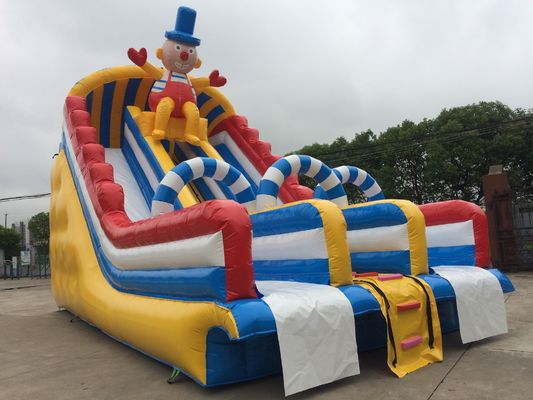 China Outdoor Commercial Inflatable Water Slides Fire Retardant Anti - UV PVC Tarpaulin supplier
