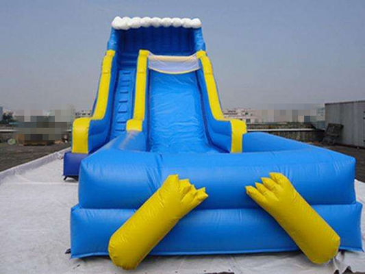 China Blue Durable Swimming Pool Lake Inflatable Water Slides Eco Friendly PVC supplier