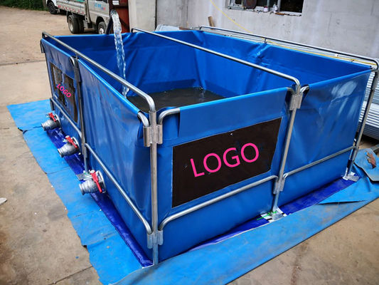 5000L Flexiable PVC Tarpaulin Water Tank Foldding Fish Tank With Metal Frame