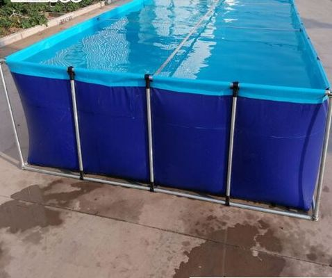SGS Blue Laminated Tarpaulin Fish Tank Fire Retardant For Aquaculture Fish Farming