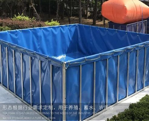 1000 Litres Tarpaulin Fish Tank ,  Foldable Fish Tank For Aquaculture Farms MOQ 1 Piece