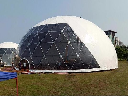 China 18M Waterproof Anti - UV Geodesic Dome Tent With Steel Pipes For Event Party factory