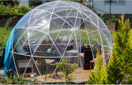 China 5M Luxury Geodesic Dome Tent With Steel Pipes And Transparent Cover factory
