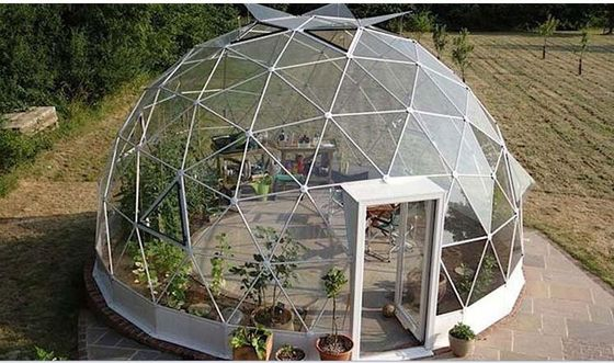 China 4M - 10M PVC Cover Metal Frame Garden Clear Geodesic Dome Tent For Sale factory