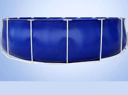 China 50000 Liters Folding Tarpaulin Fish Pond , Blue Color Aquarium Fish Tank With Steel Frame factory