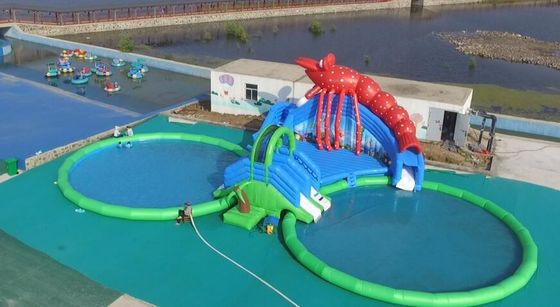 China Customized Multi Function Kids Water Slide , Big Inflatable Water Park factory
