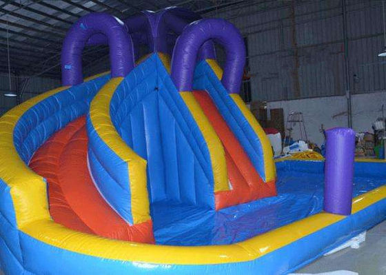 China Safe Double Lanes Children ' s Inflatable Water Slide Outdoor Amusement Park OEM Service factory