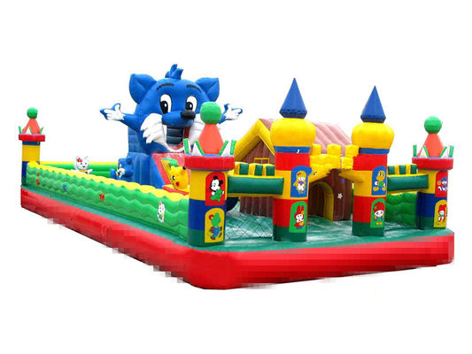 China 10-15 Children Play Inflatable Jumpers 0.55mm Tarpaulin Sewing Castle Bounce House factory