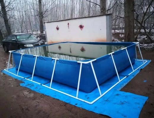China BGO 4M * 3M * 0.8M Rectangle Shape Tarpaulin Fish Tank Steel Frame With Liner factory