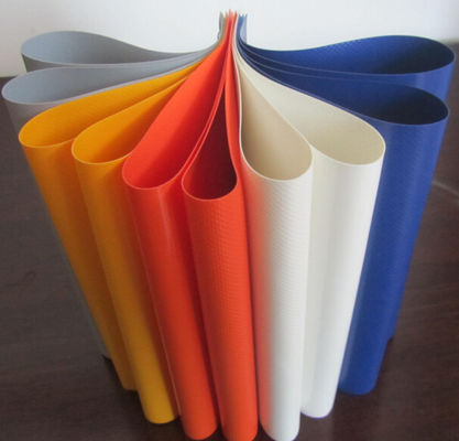 Colorful PVC Coated Tarpaulin Polyester Fabric In Roll 1000D X 1000D 20X20 650 Gsm