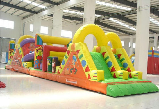 China Blast Zone Pirate ' S Bay Inflatable Amusement Park , Inflatable Obstacle Course factory