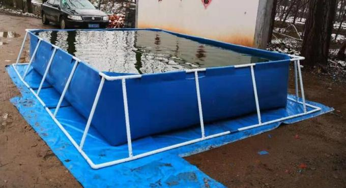 BGO 4M * 3M * 0.8M Rectangle Shape Tarpaulin Fish Tank Steel Frame With Liner 2