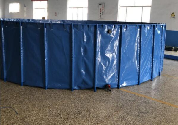 50000 Liters Folding Tarpaulin Fish Pond , Blue Color Aquarium Fish Tank With Steel Frame