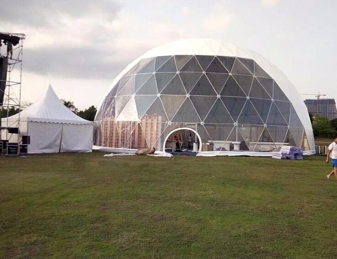 18M Waterproof Anti - UV Geodesic Dome Tent With Steel Pipes For Event Party 1