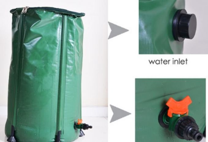 Flexible 100L Collapsible PVC Water Butt Rain Barrel For Garden Rainwater Collector