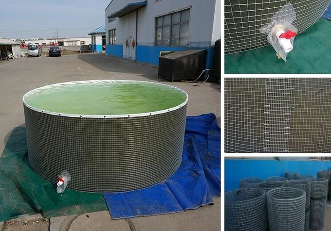 Foldable Steel Mesh Tarpaulin Fish Tank For Fish Feeding , 10000 L Volume